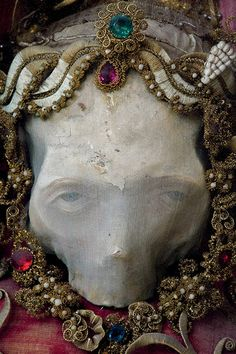 we'll never be Royals   Credit: Paul Koudounaris/Thames & Hudson A skull relic from Roggenburg, Germany, given a generic name of Deodatus, as its real identity is u...