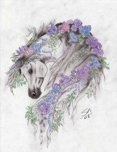 Gorgeous flower horse tattoo design