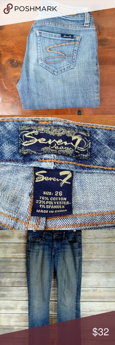 """Seven7 Jeans Size 26 Seven7 Jeans Size 26-length 41"""", inseam 32"""", waist 30"""", rise 8"""", flare width 9"""". Wear & fray at both heels. See material tag in photo. Seven7 Jeans Flare & Wide Leg"""