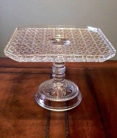 EAPG Daisy and Button Square Cake Stand/Plate - Vintage Bryce Bros - Unique