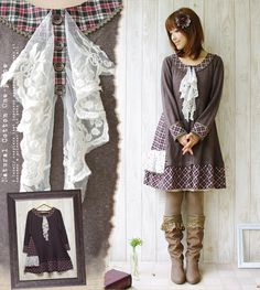 Knit Dress fashionable lace floral like scarf swaying Girl forest pattern knit…