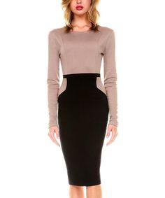 Look what I found on #zulily! Stanzino Khaki Color Block Sheath Dress - Women by Stanzino #zulilyfinds