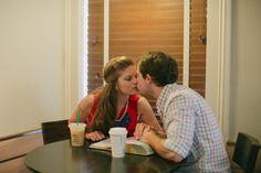 coffee shop engagement photos