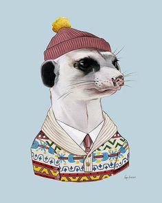 Gemütlichen Erdmännchen Kunstdruck - Tiere in der Kleidung - Animal Art - Kinderzimmer Kunst - Tier-Portrait - Ryan Berkley Abbildung 5 x 7