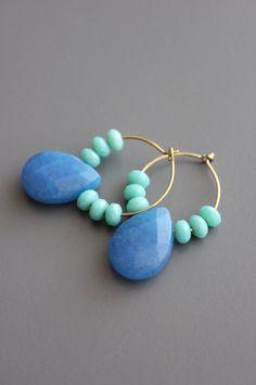 gold plated brass hoop earrings with Czech glass and dyed jade. Handmade Wire Jewelry, Earrings Handmade, Beaded Jewelry, Gothic Jewelry, Vintage Jewelry, Jewelry Necklaces, Beaded Earrings Patterns, Bead Earrings, Fabric Earrings