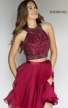 2015 Cheap SAle Sherri Hill 11290 Two Piece Beaded Chiffon Dress Prom Dresses – Sherri Hill Dresses Two Piece Homecoming Dress, Cheap Homecoming Dresses, Hoco Dresses, Dance Dresses, Cheap Dresses, Pretty Dresses, Sexy Dresses, Beautiful Dresses, Dress Prom