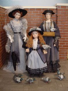 """""""FEED THE BIRDS,"""" THAT'S WHAT SHE CRIES... Dollshouse dolls by Debbie Dixon-Paver"""