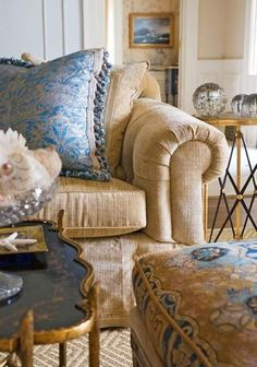 Magnificent Manor House Decorating Ideas | Traditional Home ~ Love the color combination and fabric selections