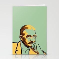 Stationery cards portrait of L. Frank Baum, author of The Wizard of Oz, in green and yellow. stationary