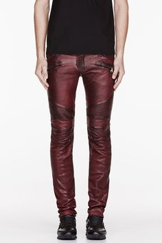 BALMAIN Burgundy leather worn & reinforced biker pants