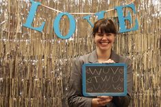 photo booth ideas, chalkboards, silver party background, garland, banners,