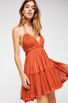 100 Degree Mini Dress - Thin Strapped Red-Orange Halter Dress with Sweetheart Neckline and Dotted Mesh Ruffled Hem Cute Dresses, Casual Dresses, Short Dresses, Summer Dresses, Mini Dresses, Summer Outfits, Loose Dresses, Ladies Dresses, Vacation Outfits