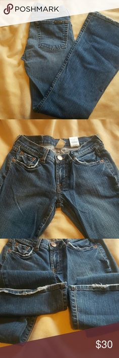 Size 2 carly lucky brand jeans Great pair of lucky carly jeans. Some distressing on the backs of the bottoms. Lucky Brand Jeans Boot Cut