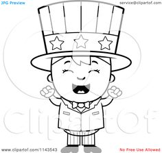 Cartoon Clipart Of A Black And White Happy Uncle Sam Boy Cheering Vector Outlined Coloring Page 10241143543 jpg 1080×1 Cartoon clip art Coloring pages Cartoon