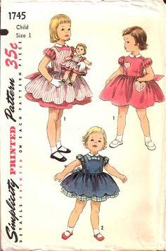 Circa 1950 Simplicity 1745 Child's Dress and Pinafore with Matching Dress and Pinafore For Sweet-Sue and Binnie Dolls