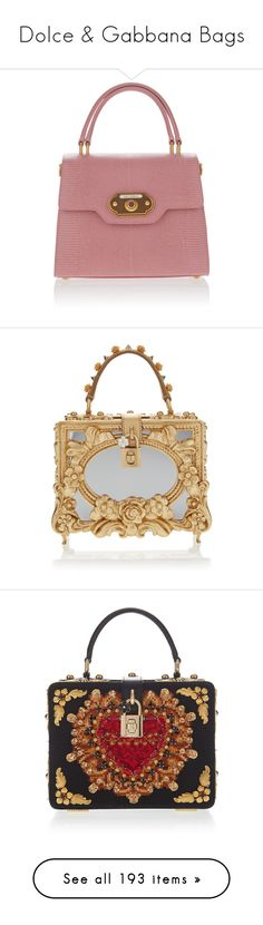 """Dolce & Gabbana Bags"" by sakuragirl ❤ liked on Polyvore featuring bags, handbags, pink, pink bag, handle bag, top handle purse, pink purse, dolce gabbana bags, gold and embellished purse"