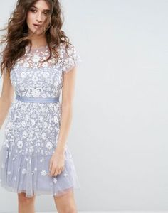 Needle & Thread Meadow Embroidered Tulle Dress