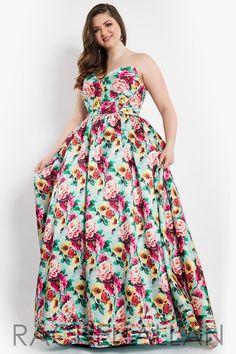 Rachel Allan (PLUS) 7812 Mint Floral Strapless Ball Gown Prom Dress
