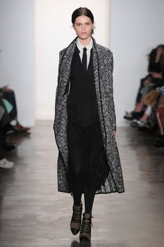 A #chevron #print #coat adds a bit of noise to an otherwise crisp #tailored look from @Marissa_Webb_ at #NYFW #Madefw #AW15