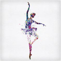 Ballerina Dancing Watercolor 2 Art Poster NaxArt
