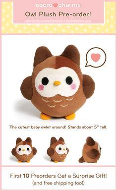 Baby Owl Plushie PREORDER by Oborochann.deviantart.com