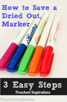 Bring Your Dead Markers Back to Life! 3 Easy Steps by Preschool Inspirations - Just need water and plastic wrap! Seems a bit time consuming but def a great way to conserve resources and save money!