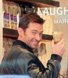 Hugh Jackman wants you to buy his coffee Celebrity Dads, Celebrity Crush, Celebrity Style, Hugh Jackman Coffee, Hugh Jackman Les Miserables, Laughing Man Coffee, Hugh Michael Jackman, Men Coffee, Aussies