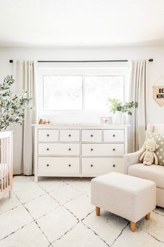 neutral nursery decor, gender neutral nursery with white glider and white boho r. - neutral nursery decor, gender neutral nursery with white glider and white boho rug, white ikea dres - Baby Nursery Decor, Baby Bedroom, Nursery Room, Vintage Nursery Girl, Ikea Baby Room, Baby Room Curtains, Ikea Nursery, Nursery Bedding, Girl Nursery Rugs