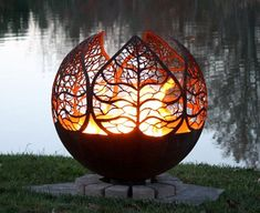 2. Autumn Sunset Leaf Fire Pit Sphere