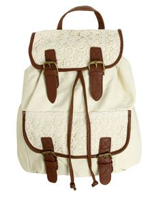 Crochet Trim Backpack - Handbags & Wallets