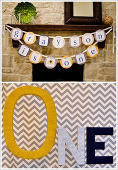 Birthday theme and colors...Chevron & Elephant First Birthday Party