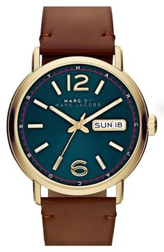 Free shipping and returns on MARC BY MARC JACOBS 'Fergus' Leather Strap Watch, 42mm at Nordstrom.com. A striking, subtly textured blue dial takes center stage on a handsome round watch finished with a rich leather strap.