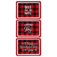 """Holiday cheer is well spent surrounded by friends and family enjoying goof food and drink. Serve your holiday treats, hordurves, and meals on any of these 3 Christmas designed trays and have a grand time! Each 14x10-in. tray is printed with 1 of 3 assorted prints: """"Deck the Halls"""", """"Comfort and Joy"""", and """"It's The Most Wonderful Time of the Year"""". Christmas Design, Red Christmas, Melamine Tray, Ups Delivery, Ups Shipping, Gift Card Number, Comfort And Joy, Dollar Tree Store, Deck The Halls"""