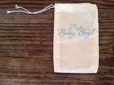 Its a Baby Boy Shower Muslin Cotton Favor Bag Stamped Set of 10 by SweetThymes, $15.00