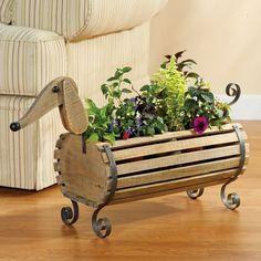 Dog barrel plant holder gifts for family