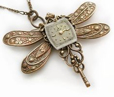 A Moment In Time - SteamPunk Dragonfly Necklace Vintage Filigree Jewelry by Federikas