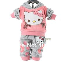 Hello Kitty Baby Clothing 2 Piece Suit Sets Tracksuits Velvet Sport Suit Hoody | eBay