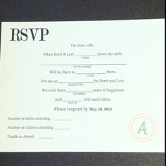 Mad lib wedding RSVP. So fun to get the responses back