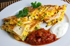 Corn and zucchini quesadillas Really great. I threw it together so quick. I use one & fold each in half, spray Pam and bake each side until crispy.~KP