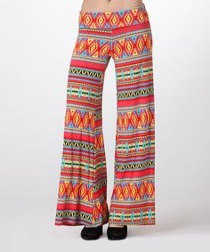 Another great find on #zulily! Neon Coral & Yellow Tribal Palazzo Pants #zulilyfinds