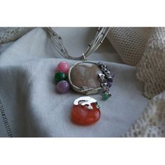 925 silver pendant with quartz and fossil coral