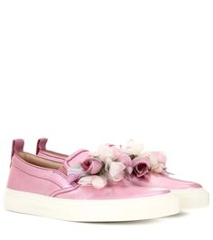 GUCCI Embellished Metallic Leather Slip-On Sneakers. #gucci #shoes #sneakers