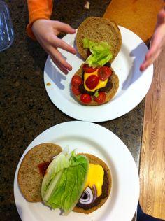 Josh's happy land burger and Leo's onion supreme burger #kidscooking