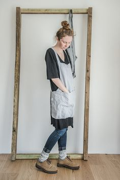 Short square cross linen apron/japanese style by notPERFECTLINEN