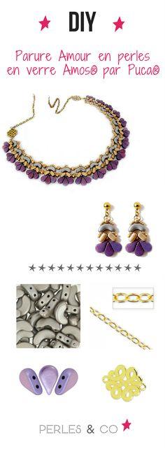 Vous adorez les perles en verre tchèques de Puca® ?  Ce tutoriel est fait pour vous ! La créatrice de bijoux Puca vous propose un tutoriel gratuit pour réaliser ce collier nommé Amour. Elle a utilisé ses toutes nouvelles perles en verre, les Amos®, qui ont une forme de goutte et mesurent 5 mm par 8 mm. Elle a également utilisé d'autres de ses collections de perles en verre : les Arcos® et les Ios®. Le collier Amour ravira toutes les créatrices de bijoux, débutantes et confirmées.