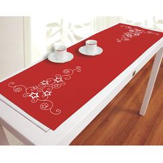 Red Stars and Swirls Table Runner - Cross Stitch, Needlepoint, Embroidery Kits – Tools and Supplies Embroidery Patterns Free, Embroidery Kits, Cross Stitch Embroidery, Cross Stitch Patterns, Christmas Runner, Christmas Cross, Christmas Sewing Projects, Cross Stitch Magazines, Winter Quilts