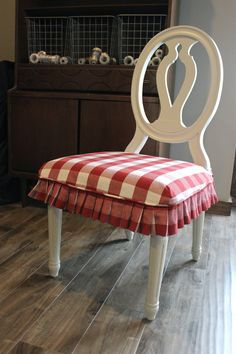 Red and White Buffalo Check Slipcovers  November 26, 2014 by Shelley —