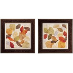Inspired by nature in her paintings, Cynthia Coulter delicately renders Gold Leaves. Layered shades of gold, green, orange, and brown look like translucent leaves found pressed in a keepsake book. Simply framed as a set of two.