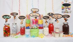 Candy Buffet Signs available in 9 colors, Birthday Decorations, Party Decor, Centerpiece Signs with Scallop Border 60th Birthday Ideas For Mom, 50th Birthday Party Decorations, Birthday Candy, 60th Birthday Party, 50th Party, Birthday Signs, Reunion Centerpieces, Reunion Decorations, Candy Buffet Signs
