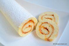 Rulada cu gem sau crema - reteta de rulada pufoasa din pandispan   Savori Urbane Onion Rings, Quick Bread, Doughnut, Muffin, Good Food, Food And Drink, Sweets, Cream, Ethnic Recipes